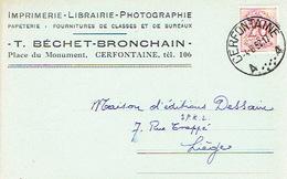 CP Publicitaire CERFONTAINE 1952 - T. BECHET-BRONCHAIN - Imprimerie - Librairie - Photographie - Papterie - Cerfontaine