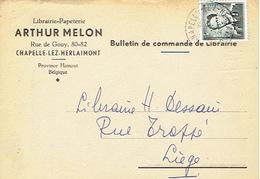 CP Publicitaire CHAPELLE-LEZ-HERLAIMONT 1959 - ARTHUR MELON - Librairie - Papeterie - Chapelle-lez-Herlaimont