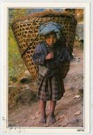 "NEPAL   SHERPA GIRL  CARRYING HAY  IN HER ""DOKO""  2 SCAN   (VIAGGIATA) - Nepal"