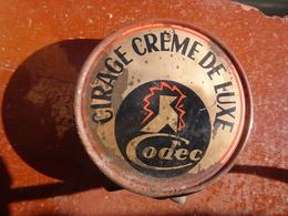"""Publicité Boîte De Cirage Ancienne En Métal """"CIRAGE CRÈME DE LUXE CODEC"""". Boîte Rare - Boxes"""