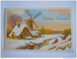 Gelukkig Nieuwjaar Winter Landschap Molen Moulin Gelopen 1958 Olsene - Neujahr