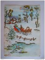 Bonne Année Attelage Traineau Dans La Neige Slee Sneeuw Paillettes Circulée 1980 - New Year