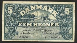 DENMARK 5 KRONER, 1943 Prefix J P#30h VF+ - Danemark