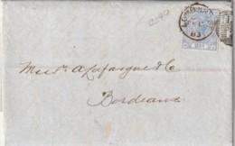 Grande Bretagne N°  57 Sur Lettre Pour Bordeaux Timbre Seul Côte 40€ - 1840-1901 (Victoria)