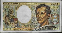 """BILLET 200 Francs """"Montesquieu"""" 1986 - Série C.042 - Bon état - 1962-1997 ''Francs''"""
