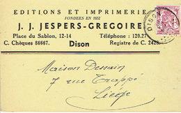 CP Publicitaire DISON 1947 - J. J. JESPERS-GREGOIRE - Editions Et Imprimerie - Dison