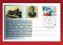 ITALIA : Annullo Medaglia D'Oro Al V.M.  Ten.Pilota LIVIO BASSI - Trapani 30.09.2018 - 6. 1946-.. Repubblica