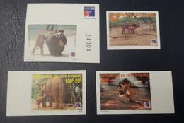 COTE D'IVOIRE IVORY COAST 1999 - IMPERF NON DENTELE ND - ANIMALS APES MONKEYS SINGES ELEPHANTS PHILEXAFRIQUE CHIMPANZE - Chimpancés