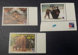 COTE D'IVOIRE IVORY COAST 1999 - SHORT SET- ANIMALS APES MONKEYS SINGES ELEPHANTS PHILEXAFRIQUE CHIMPANZE - MNH - Chimpancés
