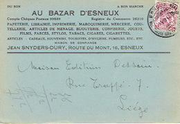 CP Publicitaire ESNEUX 1947 - AU BAZAR D'ESNEUX -Jean SNYDERS-DURY-Imprimerie, Papeterie, Librairie, Coutellerie, Jouets - Esneux