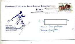 Lettre  Flamme Montpellier Energie Entete Federation Jeu De Balle Au Tambourin - Marcophilie (Lettres)