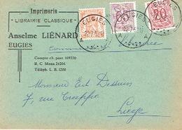CP Publicitaire EUGIES 1952 - Anselme LIENARD - Imprimerie - Librairie - Frameries