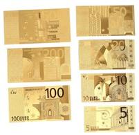 LOT DE 7 BILLETS PLAQUES COULEURS OR .( 5€ .10€ .20€ . 50€ . 100€ . 200€ . 500€ .) - Fictifs & Spécimens