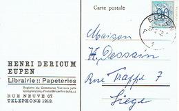 CP Publicitaire EUPEN  1952 - HENRI DERICUM - Librairie - Papeterie - Eupen