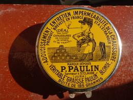 """Publicité Boîte Ancienne En Métal """"VÉRITABLE GRAISSE PAULIN"""" 125 Grammes, Saint-Claude Jura, Chaussures, Parfait état - Boxes"""