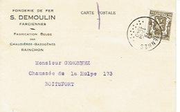 CP Publicitaire FARCIENNES 1940 - S. DEMOULIN - Fonderie De Fer - Fabrication Des Chaudières-gazogènes RAINCHON - Farciennes