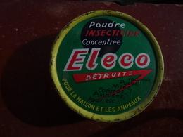 Publicité Boîte Ancienne En Métal Poudre Insecticide Concentrée ELECO Détruit Fourmis, Puces, Mites, Cafards, Punaises.. - Boxes
