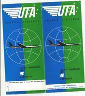 Brochure Aviation   Uta  French Airlines Tarifs  Janvier1964 - Vieux Papiers