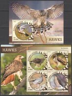 TT599 2016 SIERRA LEONE FAUNA BIRDS HAWKS 1KB+1BL MNH - Adler & Greifvögel
