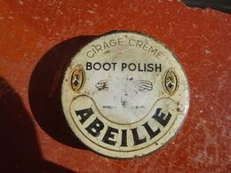 Publicité Boîte Ancienne En Métal Cirage Crème Boot Polish ABEILLE, Chaussures, Attention Je Ne Vends Que Couvercle !!! - Boxes