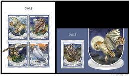 SIERRA LEONE 2018 MNH** Owls Eulen Hiboux M/S+S/S - IMPERFORATED - DH1843 - Eulenvögel