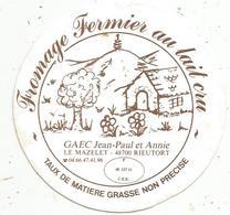 étiquette De Fromage , Fromage Fermier Au Lait Cru ,JP Et A. Le Mazelet ,48 ,  RIEUTORT , LOZERE - Cheese