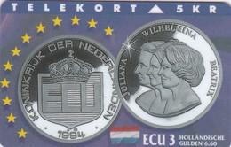 Denmark, TP 073B, ECU-Netherlands, Mint, Only 1.200 Issued, Coins, 2 Scans. - Denmark