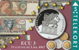 Denmark, TP 086A, Ecu Series - Italy, Coins, Notes, Flag, Mint Only 1500 Issued, 2 Scans. - Denmark