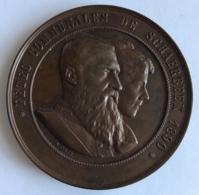 Médaille. Fêtes Communales De Schaerbeek 1890. A. Fisch. Diam. 64mm - Professionnels / De Société