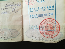 VISA D ASIE SANS DOUTE RÉPUBLIQUE CHINE ÉCRITURE CHINOISE OU JAPONAISE ? DANS PASSEPORT NEDERLANDS PAYS BAS ANNÉES 1990 - Documents Historiques
