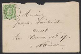 """émission 1869 - N°30 Sur Lettre Obl Simple Cercle """"Floreffe"""" Vers Namur - 1869-1883 Leopoldo II"""