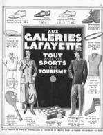 """PUB TOUT POUR LES SPORTS Et Le TOURISME  """" GALERIE LAFAYETTE  """"  1931 ( 1 ) - Habits & Linge D'époque"""