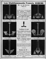 """PUB  LUMINAIRES LUSTRES  """"ART DECO """" """" HUBENS """"   1931 - Luminaires"""