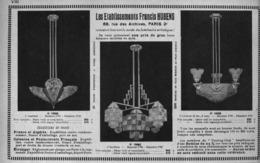 """PUB  LUMINAIRES LUSTRES  """"ART DECO """" """" HUBENS """"   1931 ( 3 ) - Luminaires"""