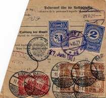 Österreich Nachporto 1921 - 2,5 + 2 Gro Nachporto (Ank85+86) Auf Paketkarte Mit 1 + 2 X 1,5 + 2 X 4 M (Ank2x114+139+2x14 - 1918-1945 1. Republik