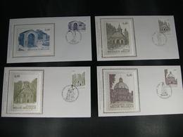"""BELG.2004 3260 3261 3262 & 3263 FDC Silk-soie-zijde  """"Toerisme - Bedevaartsoorden """"   (album 111) - 2001-10"""