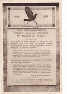 1914 /  1918,,,,AUX COLOMBOPHILES MORTS  Pour La FRANCE   AV  PIGEON  De  VERDUN,,,,VOYAGE,,, - Guerra 1914-18