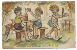 """CP DESSIN, ILLUSTRATION GERMAINE BOURET, ENFANTS A TABLE, UNE SERVEUSE, """"- ET UN PETIT COUP DE ROUGE AVANT LE BOULOT !"""" - Bouret, Germaine"""