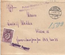 ÖSTERREICH NACHPORTO 1925 - 1500 Kronen (Ank126) Nachporto Auf Falt-Brief Gel.Wien - Portomarken