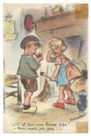 """CP DESSIN, ILLUSTRATION GERMAINE BOURET, """"- C'EST BON UNE BONNE PIPE ! - OUI, MAIS CA PUE... """" - Bouret, Germaine"""