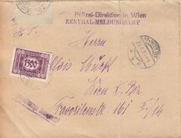 ÖSTERREICH NACHPORTO 1925 - 1500 Kronen (Ank126) Nachporto Auf Faltbrief Der Pol.Dir.Wien Gel.Wien - Portomarken