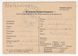 France Depot De PG Censored POW Kriegsgefangenepost Postal Card Travelled 1946 Chateauroux To Lübeck Germany B181101 - Guerra Del 1939-45