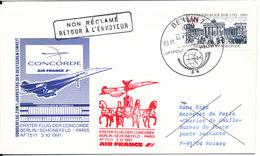 Germany First Concorde Flight Cover Air France Berlin - Paris 3-10-1991 - [7] République Fédérale