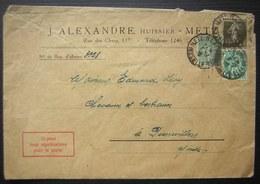 Metz 1928 J. Alexandre Huissier - Marcophilie (Lettres)