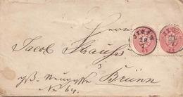 Österreich 1863? - 2 X 5 Kreuzer (Ank32?) Auf Siegel-Brief Gelaufen Jicin - Brünn - Brieven En Documenten