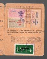 (32 Gers) Carte De Membre Des APP Du Gers (pêcheurs) 1974 Avec Timbres Fiscaux Taxe Piscicole (PPP15804) - Old Paper