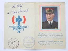 Calendrier 1942  Maréchal PETAIN - Avec Tampon OEUVRES SOCIALES  + Languette Secrétariat Particulier Du  Maréchal - 1939-45