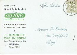 "CP Publicitaire HERSTAL 1947 - ""AU STYLO"" - J. HUMBLET-THEUNISSEN - Stylos REYNOLDS - Réparations, Plumes En Or - Herstal"