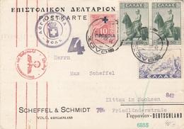 GRIECHENLAND Weihnachtsgrüße Nach Zittau Gel.1940, Seltene Frankierung Rote Zensur - Griechenland
