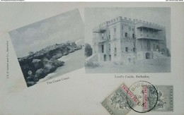 O) 1903 BRITISH COLONY -BARBADOS, BADGE OF COLLONY  ONE FARTHING, THE CRANE COAST - LORD'S CASTLE, POSTAL CARD XF - Postcards